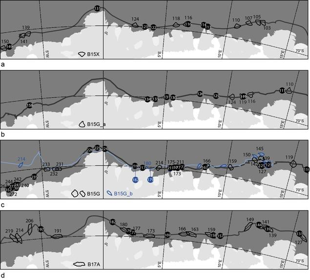 Iceberg positions of five tabular icebergs and their orientations from satellite images.