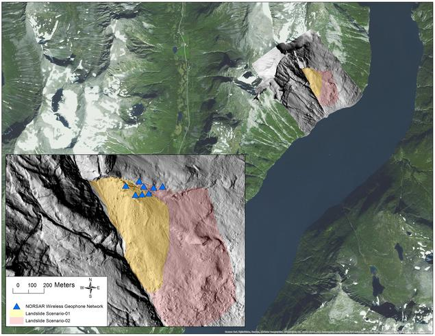 Location and extent of the unstable rock slope Åknes with sites of the small-aperture network of seismic sensors.