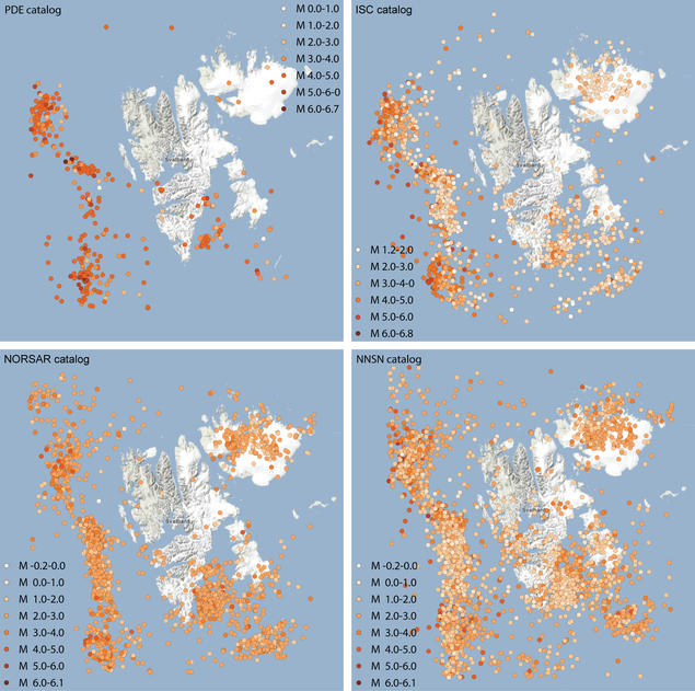 Example earthquake activity maps for the Svalbard area