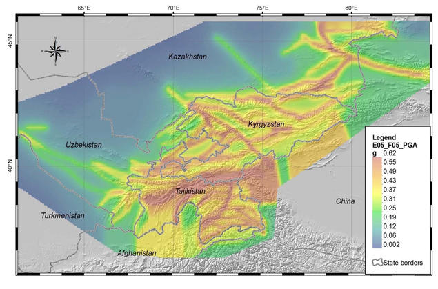 Example from a regional seismic hazard investigation covering parts of Central Asia