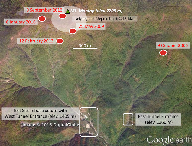 North Korea explosion site Sep 3rd 2017