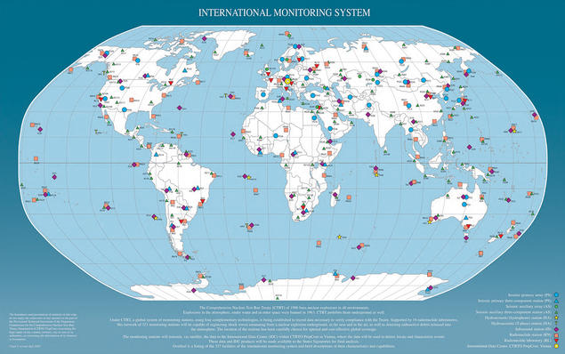 World map of the CTBTO IMS stations