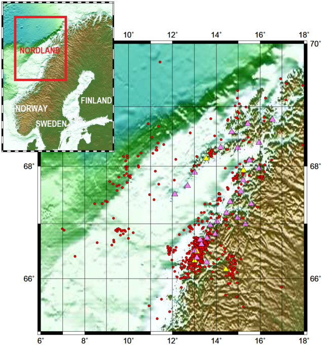 Map of the temporary NEONOR2 deployment and the permanent NNSN deployment in the Nordland area