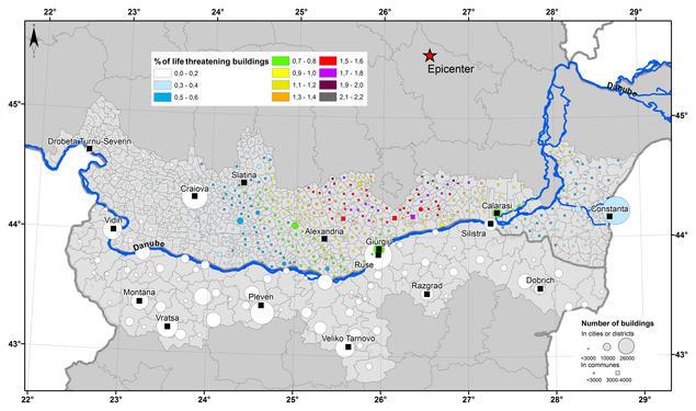 Damage distribution map