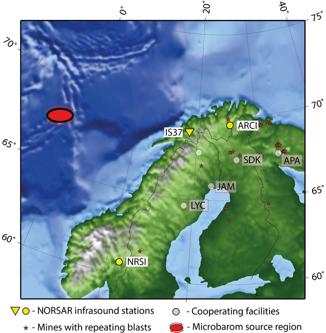 Distribution of infrasound stations and repeating infrasound sources in the Nordic/NW Russian region.